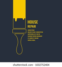 Hand tools for home renovation and construction. Linear House repair poster. Vector illustration and template.