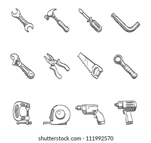 Hand tools icon series in sketch