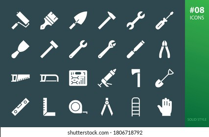Hand tools solid icons set. Set of nippers, car tool box, adjustable wrench, construction gloves, hacksaw, ladder, paintbrush, knife putty, hand saw, screwdriver, sealant pistol, hammer glyphs icon