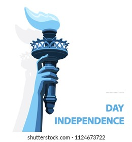 Hand with torch Independence Day. Green, blue Linear picture. USA. Poster. Statue of Liberty. National Symbol America. White Background. Use presentation, report, postcard, flat banner, vector