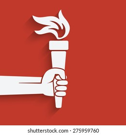 hand with torch symbol on red background. vector illustration - eps 10