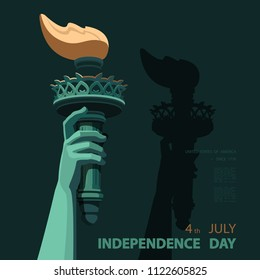 Hand with torch. USA. Statute of Liberty.Independence Day. Gold Linear Picture. National Symbol of America. Blue background Style of paper cutting.Use presentation, report,postcard, flat banner,vector