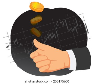 Hand is tossing coin on a chart background. Heads or tails.