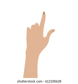 Hand touch. Isolated on white. Vector illustration. Female hand. Flat style. Easy to edit. White background.