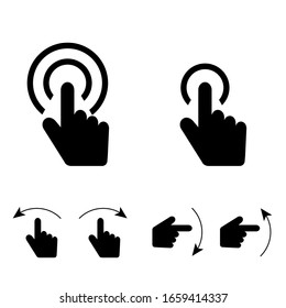 hand touch set icon in black color art illustration