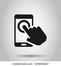 Hand touch smartphone icon in flat style. Phone finger vector illustration on isolated background. Cursor touchscreen business concept.