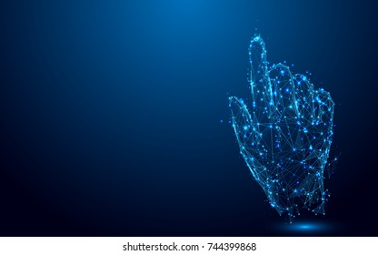 Hand touch something from lines and triangles, point connecting network on blue background. Illustration vector
