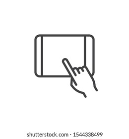 Hand touch tablet screen line icon. linear style sign for mobile concept and web design. Touchscreen tablet display outline vector icon. Symbol, logo illustration. Vector graphics