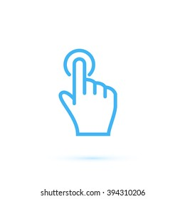 Hand touch and tap gesture line art icon for apps and websites Vector illustration