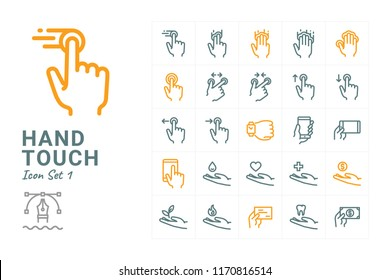 Hand Touch vector icon set 1
