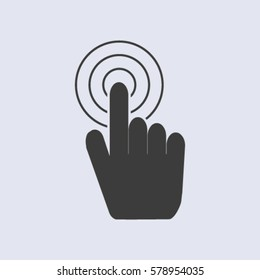Hand with touching a button or pointing finger. Sign emblem vector icon