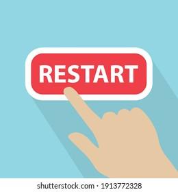 hand touching restart button- vector illustration