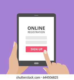 Hand touching screen of tablet computer with online registration form and sign up button. User login mobile application flat design concept.