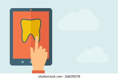A hand is touching the screen of a tablet with tooth icon. A contemporary style with pastel palette, light blue cloudy sky background. Vector flat design illustration. Horizontal layout with text