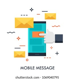 Hand touching smartphone screen with new message notification in text messaging application, mobile messenger concept, icon. Vector illustration for website, banner, electronic app advertisement.
