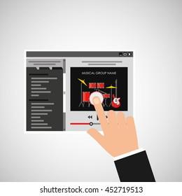 hand touching website music design icon, vector illustration