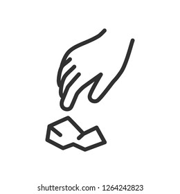 hand and trash. linear icon. pick up and throw out the trash. Line with editable stroke