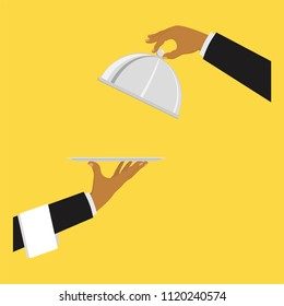 Hand with tray. Hands of the waiter with a tray. Concept service and delivery. Vector illustration.