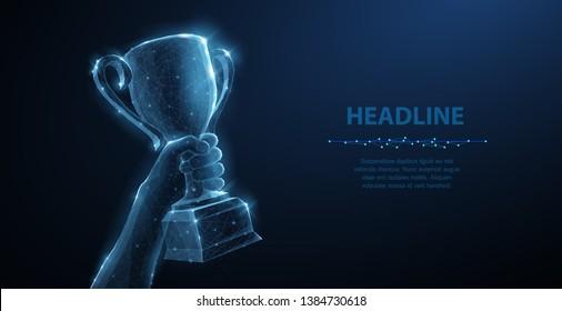 Hand mit Tropfbecher. Abstrakte Vektorgrafik 3D-Trophäe einzeln auf blauem Hintergrund. Champions Award, Sport Siegkonzept. Wettbewerb Erfolg, erster Platz, bester Sieg, Feierlichkeiten Symbol.