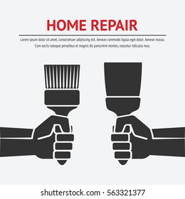hand with trowel and brush. home repair concept. vector illustration - eps 8