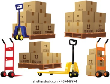 Hand trucks pallets and boxes.