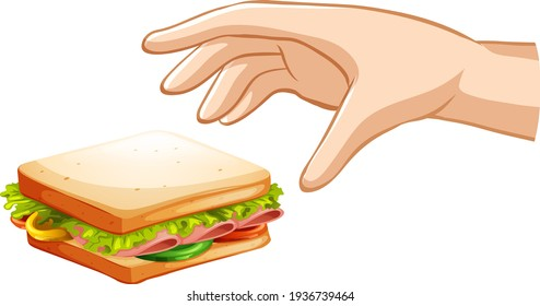 Hand trying to grab sandwich on white background illustration