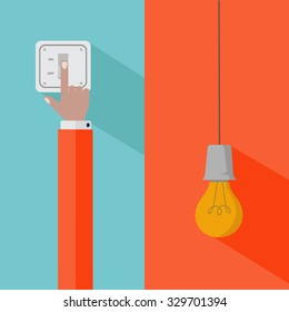 Hand turning on the light switch and light bulb idea vector concept