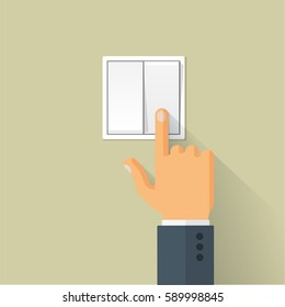 Hand turning on the light switch. Turning off light toggle. Flat style vector concept illustration with long shadow.