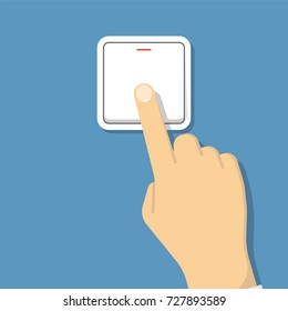 Hand turning on the light. Vector illustration in flat style