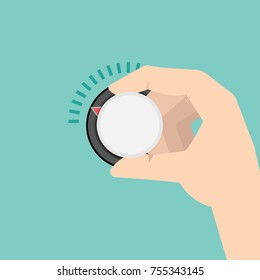 Hand turns Climate control temperature regulator or knob. Vector illustration.