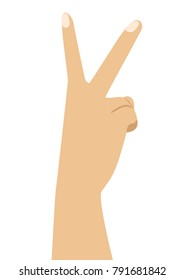 Hand with two fingers up in peace or victory symbol the sign for V letter in sign language