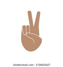 Hand with two fingers raised up, index and middle, victory sign, isolated color vector illustration