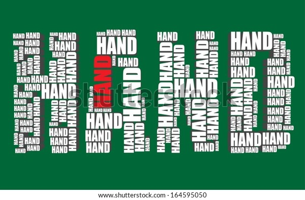 hand typography 3d text word art vector illustration hand word cloud