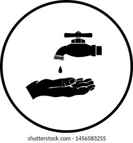 hand under water spigot symbol