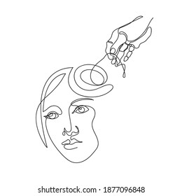 The hand unravels the tangled lines in the brain. Psychotherapy, psychology. Continuous line. Female thoughts.