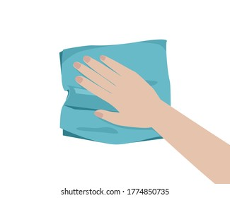 Hand using blue rag cloth for cleaning isolated on white background. Icon vector illustration.