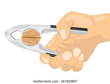 hand using a nutcracker to crack a nut