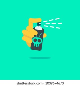 Hand using a pesticide spray can. Flat illustration vector design.