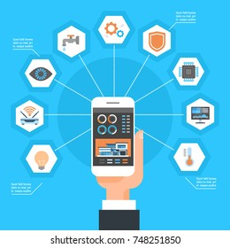 Hand Using Smart Home Control System On Smartphone House Monitoring Automation Concept Vector Illustration