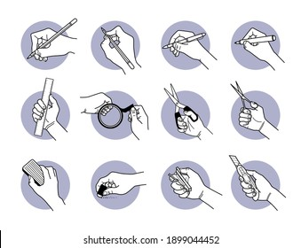 Hand using stationery tools and equipment. Vector illustrations of writing with pen and marker, drawing with pencil, cutting with scissor and blade, erasing with eraser, and measure with ruler.