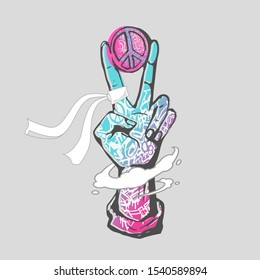Hand V sign with Peace Symbol colorful, Graffiti Texture and Painting Style Vector Illustration.