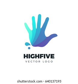 Hand vector logo. Colorful vector illustration. High five concept