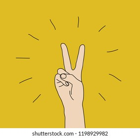 Hand victory gesture sign win expression symbol
