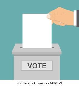 Hand vote ballot with box