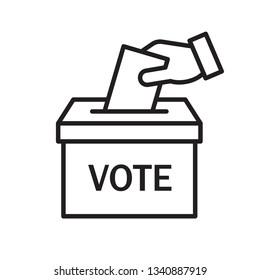 Hand voting ballot box icon, Election Vote concept, Simple line design for web site, logo, app, UI, Vector illustration