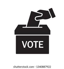 Hand voting ballot box icon, Election Vote concept, Simple silhouettes flat design for web site, logo, app, UI, Vector illustration