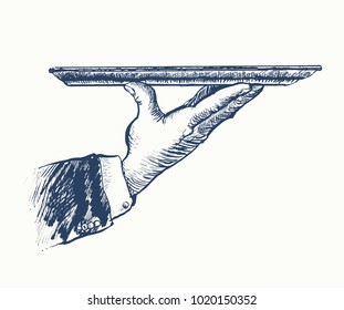 Hand of waiter holding empty silver tray. Vector hand drawn Illustration, retro restaurant staff for design menu eatery, canteen, cafe. Vintage engraved style