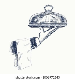Hand of waiter holding metal tray with cloche and towel. Vector hand drawn Illustration, retro restaurant staff for design menu eatery, canteen, cafe. Vintage engraved style