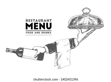 Hand of waiter holding metal tray with cloche. Male hand holding wine bottle. Vector hand drawn Illustration, retro restaurant staff for design menu eatery, canteen, cafe. Vintage stylized drawing