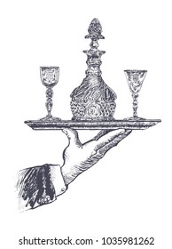 Hand of waiter holding silver tray with antique crystal decanter and glasses of alcohol. Vector hand drawn Illustration, retro restaurant staff for design menu eatery, canteen, cafe. Vintage engraved